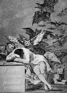 Brasiliano che sogna la partita con la Francia (Il sonno della ragione genera mostri do Goya - fonte arteworld.it)